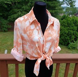 JOSEPHINE CHAUS Linen Top Tie Dye Creamsicle Sz M
